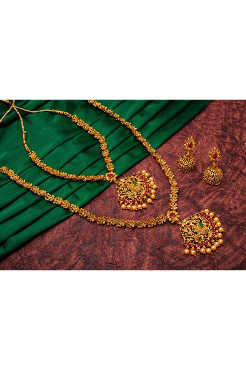 Trendy Puja Wear Golden Color Alloy Metal Double Necklace Set