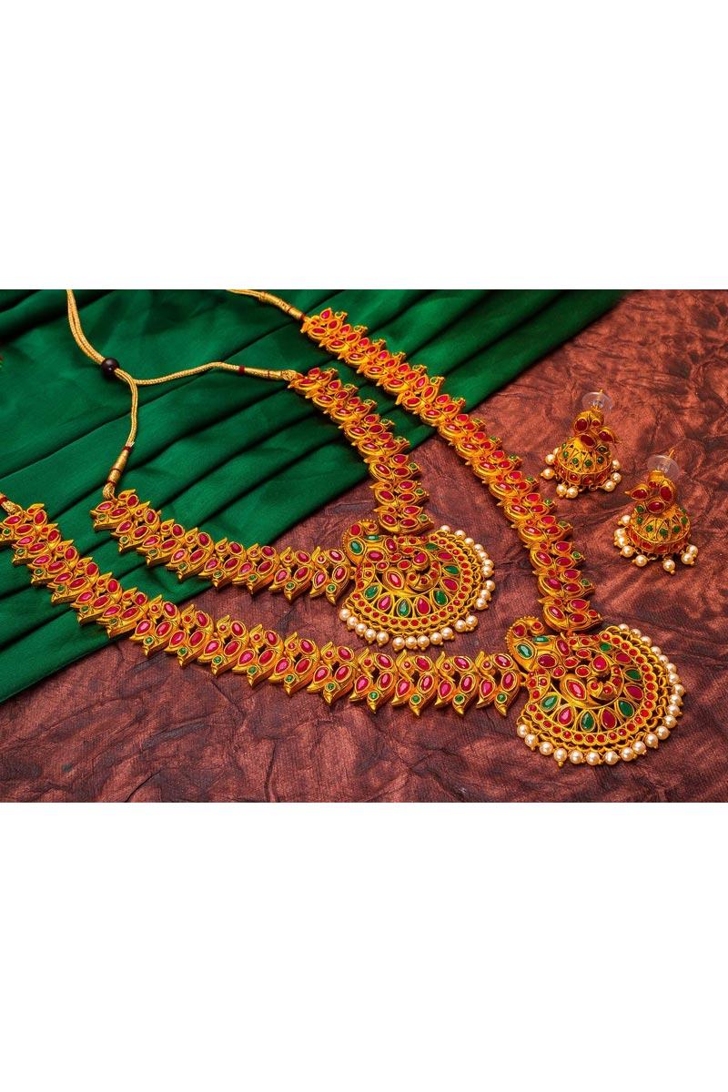 Golden Color Alloy Metal Puja Wear Trendy Double Necklace Set