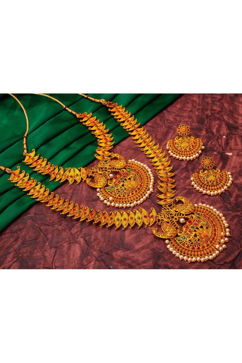 Golden Color Puja Wear Majestic Alloy Metal Double Necklace Set