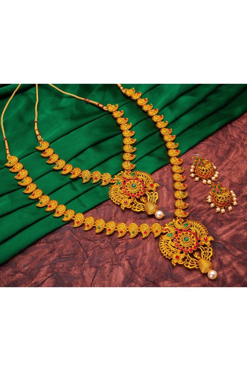 Majestic Golden Color Puja Wear Alloy Metal Double Necklace Set