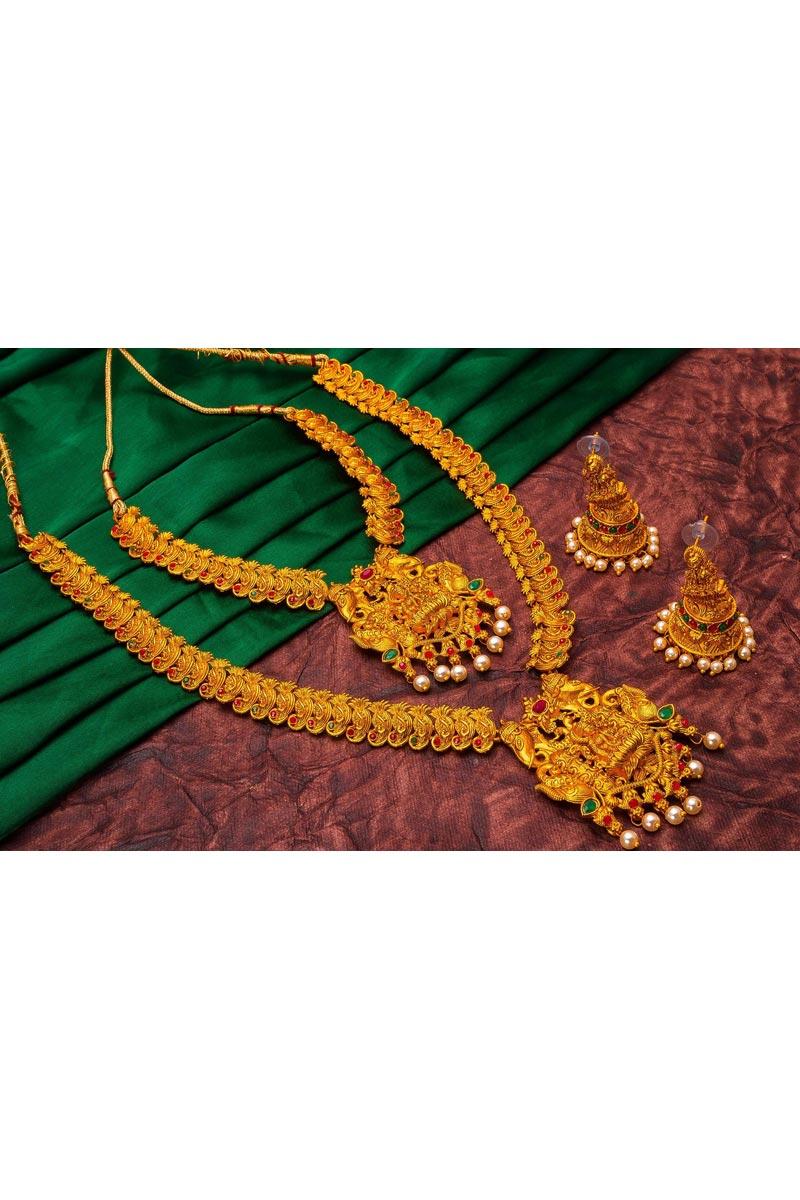 Alloy Metal Golden Color Puja Wear Majestic Double Necklace Set