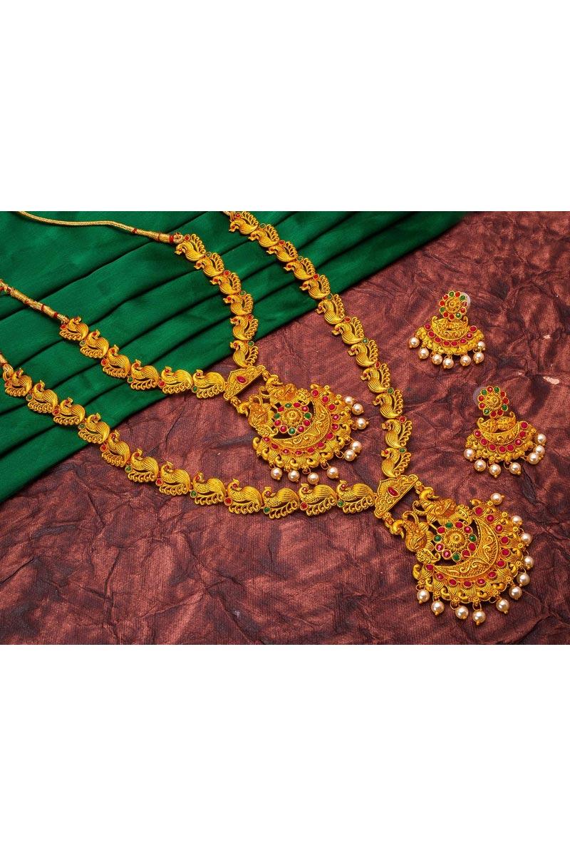 Puja Wear Majestic Alloy Metal Golden Color Double Necklace Set