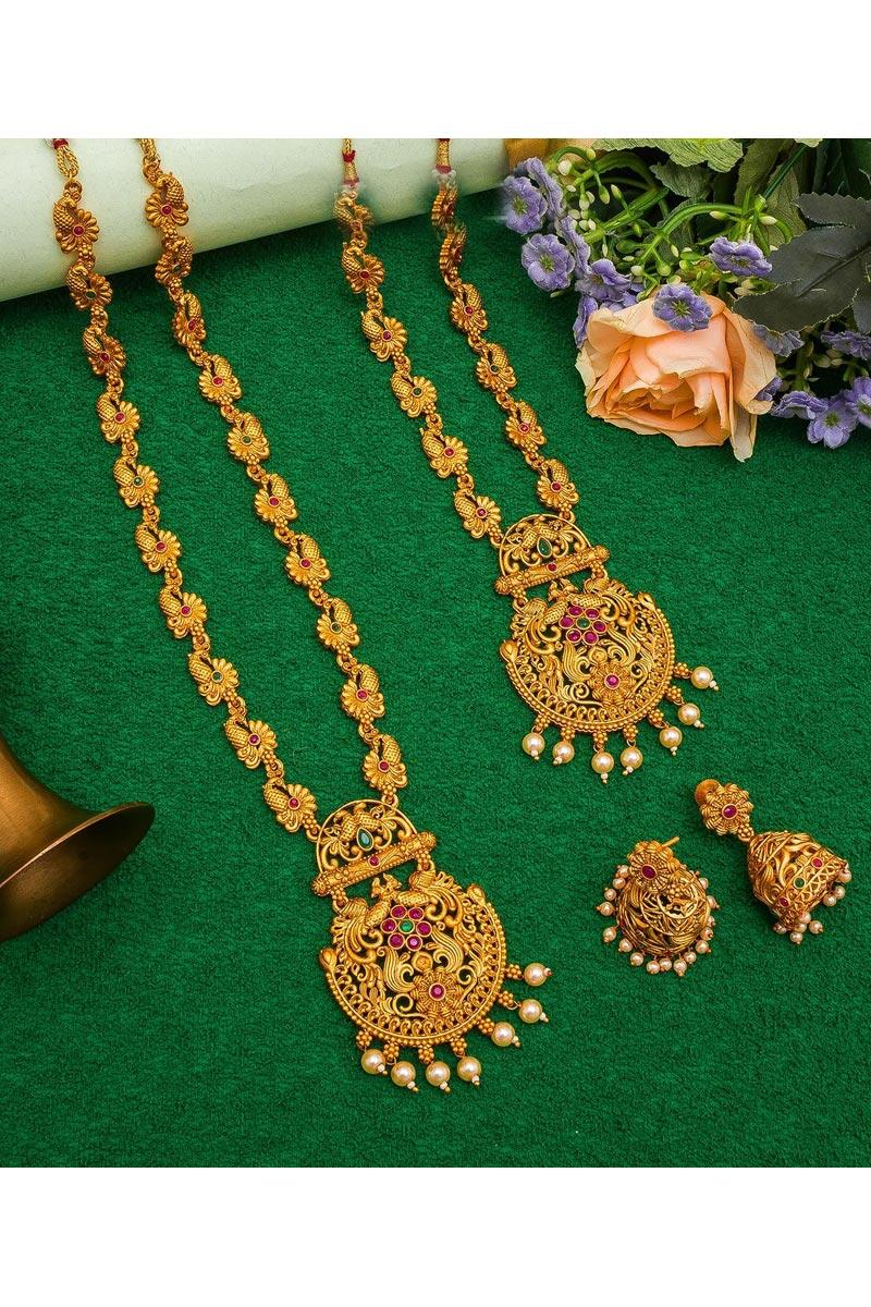 Golden Color Puja Wear Beautiful Alloy Metal Double Necklace Set