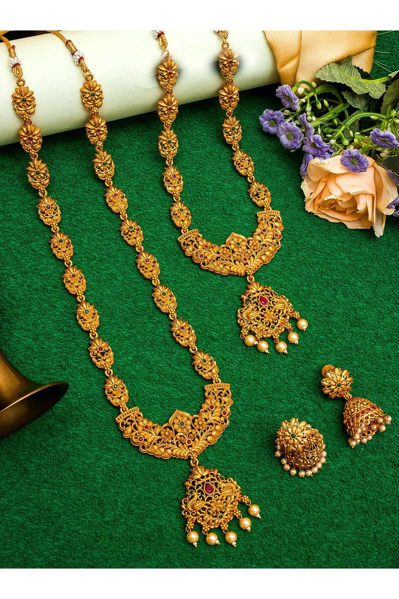 Beautiful Golden Color Puja Wear Alloy Metal Double Necklace Set
