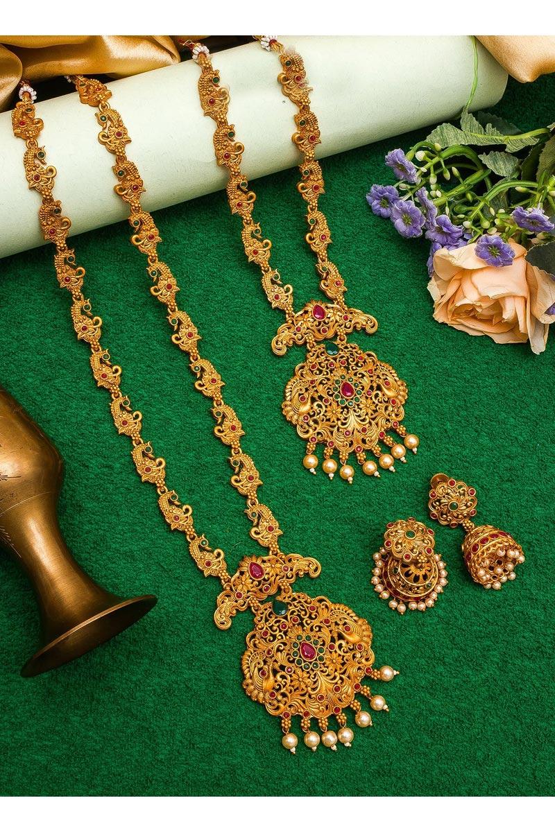 Puja Wear Beautiful Alloy Metal Golden Color Double Necklace Set