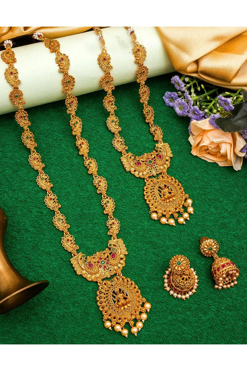 Beautiful Puja Wear Golden Color Alloy Metal Double Necklace Set