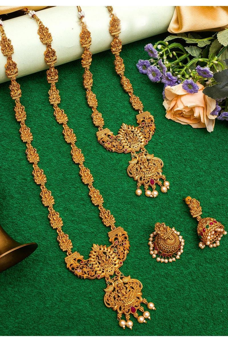 Golden Color Alloy Metal Puja Wear Beautiful Double Necklace Set