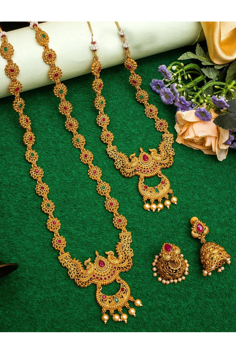 Golden Color Puja Wear Lovely Alloy Metal Double Necklace Set