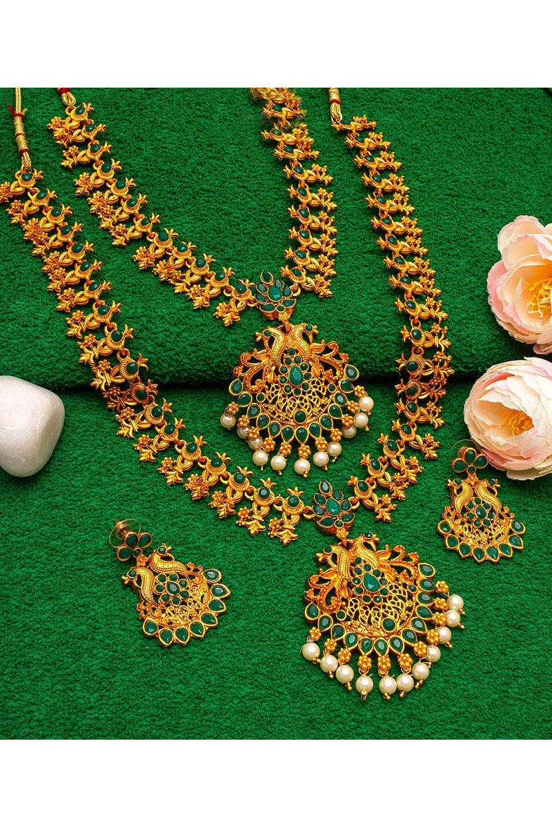 Alloy Metal Golden Color Puja Wear Lovely Double Necklace Set