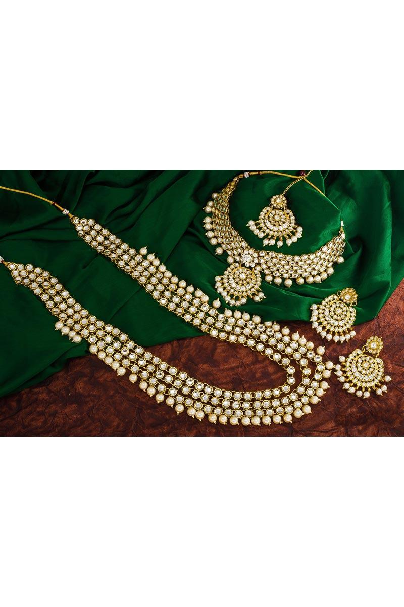 Puja Wear Fancy Alloy Metal Double Necklace Set