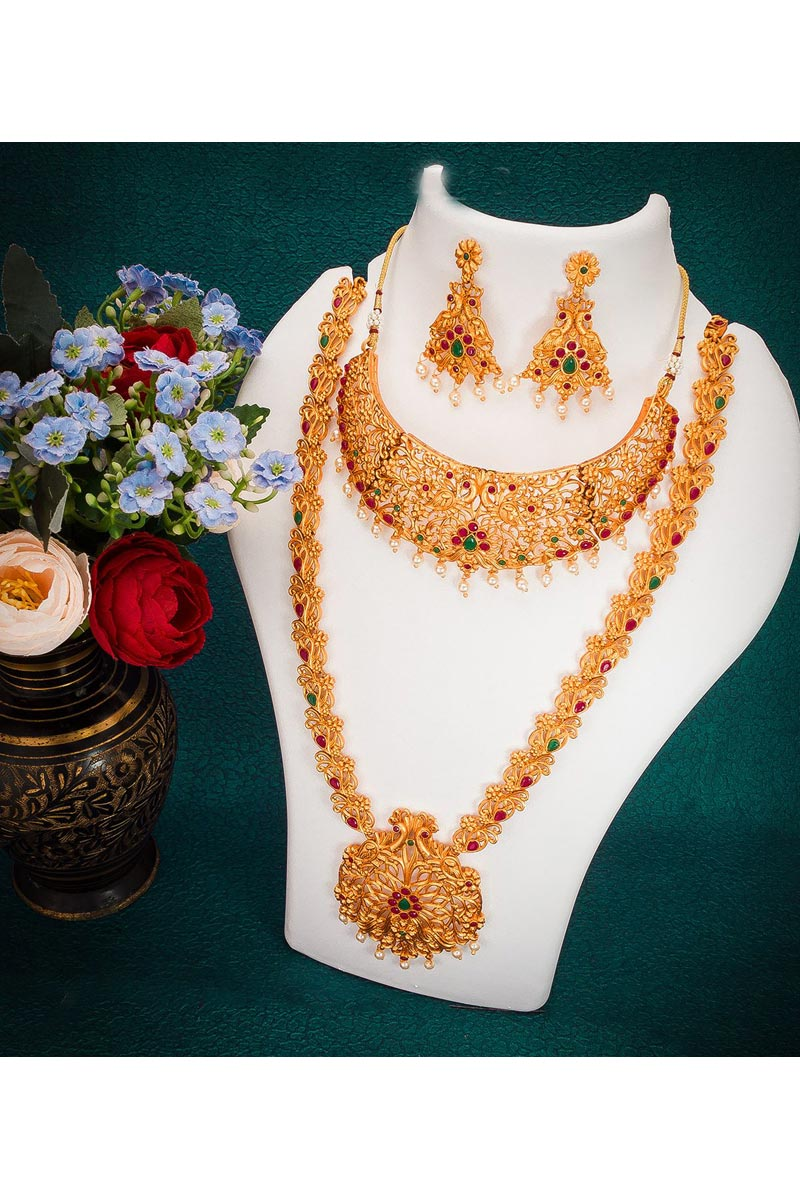 Golden Color South Indian Style Fancy Double Necklace Set