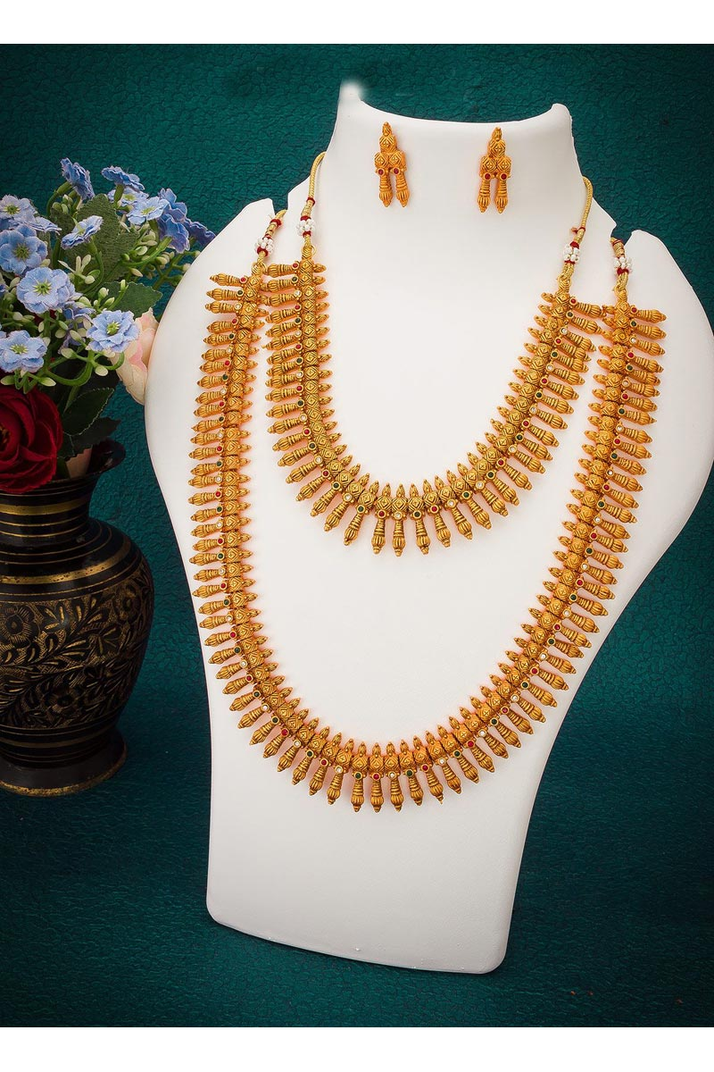 Golden Color Alloy Metal South Indian Style Trendy Double Necklace Set