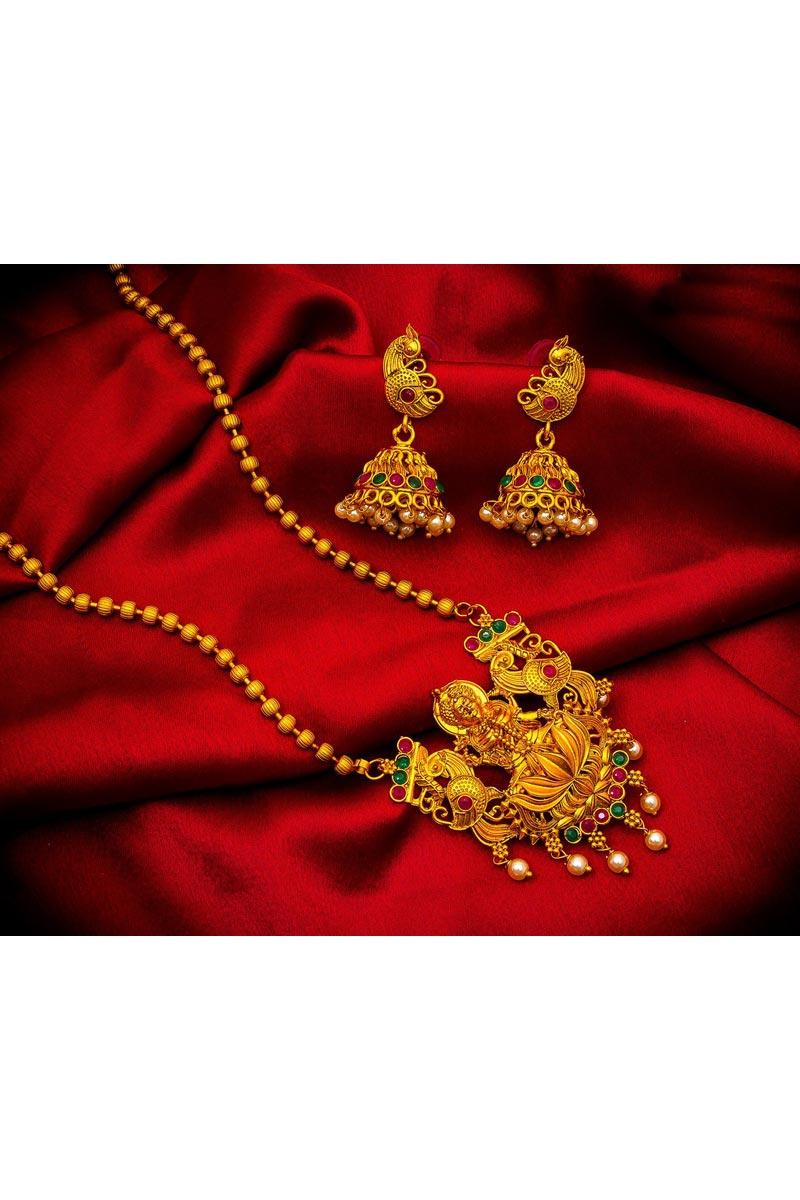 Golden Color Puja Wear Trendy Alloy Metal Necklace Set