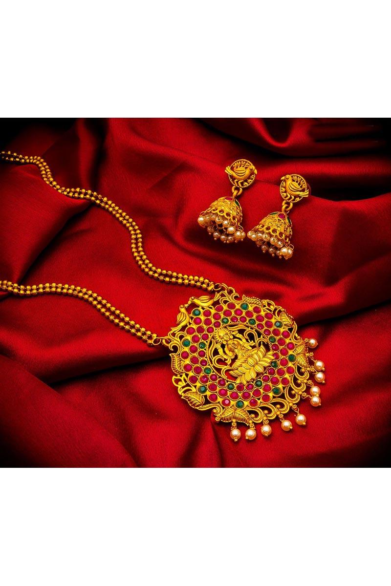 Trendy Golden Color Puja Wear Alloy Metal Necklace Set