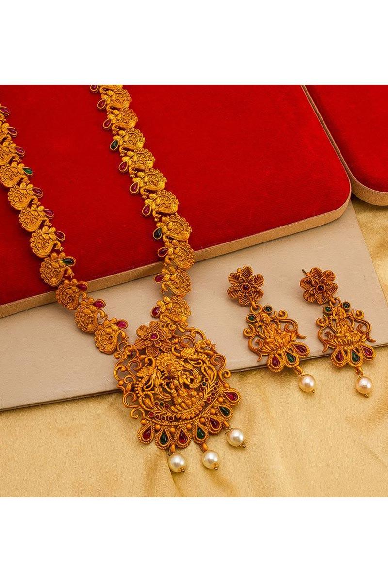 Golden Color Puja Wear Lovely Alloy Metal Necklace Set