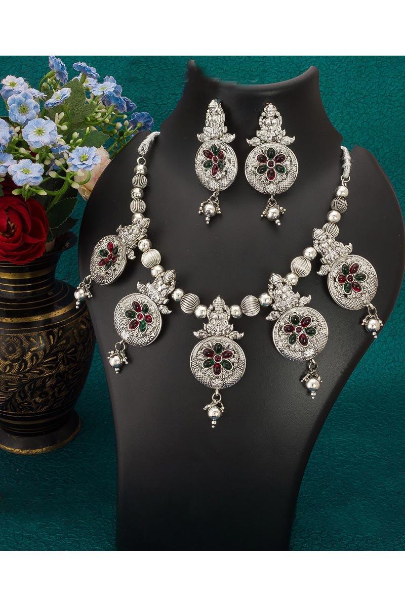 Silver Color Alloy Metal Festive Wear Stylish Necklace Set