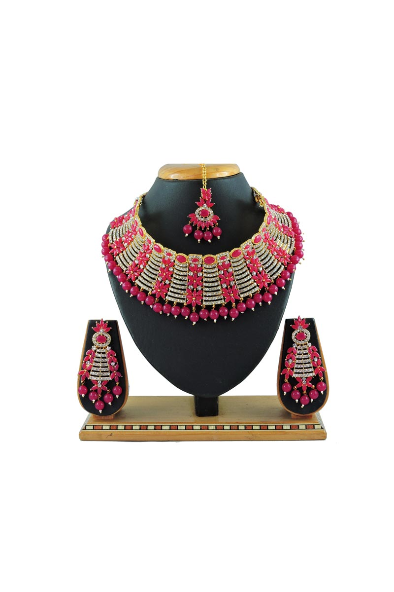Rani Color Alloy Metal Function Wear Fancy Necklace Set