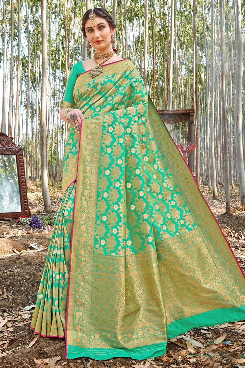 Uppada Silk Fabric Trendy Sangeet Wear Sea Green Color Weaving Work Saree