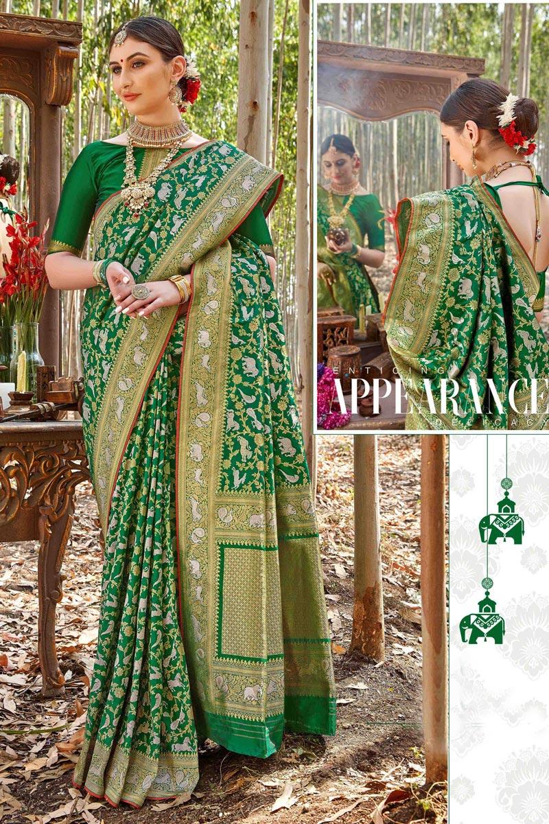 Sangeet Wear Trendy Uppada Silk Fabric Weaving Work Dark Green Color Saree