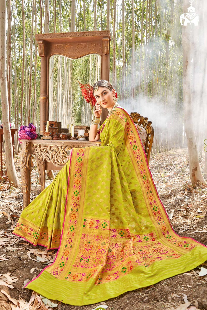 Sangeet Wear Trendy Yellow Color Weaving Work Uppada Silk Fabric Saree