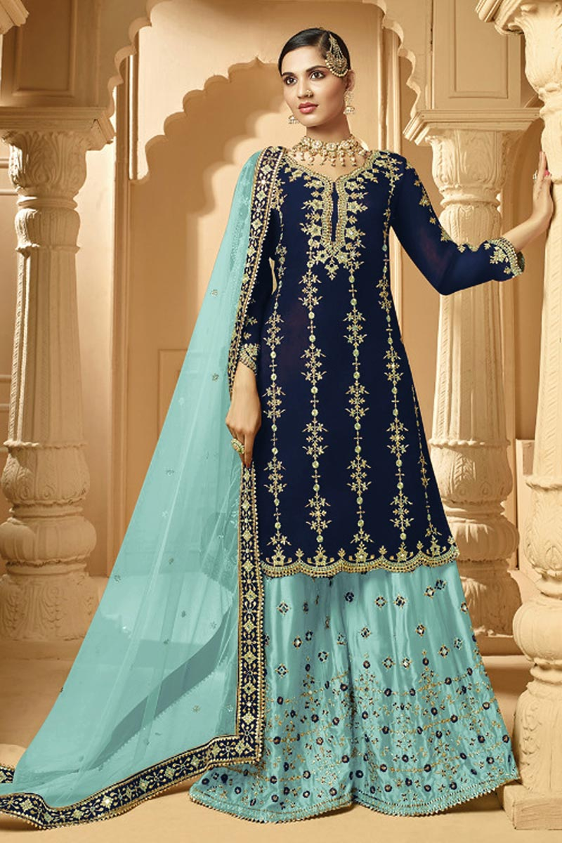 Classic Georgette Fabric Sangeet Wear Embroidered Palazzo Suit In Navy Blue Color