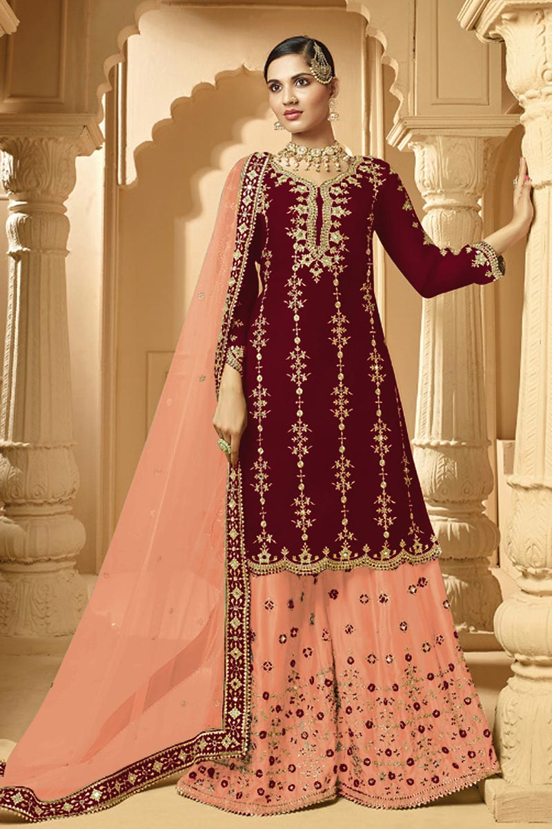 Sangeet Wear Classic Maroon Color Embroidered Georgette Fabric Palazzo Dress