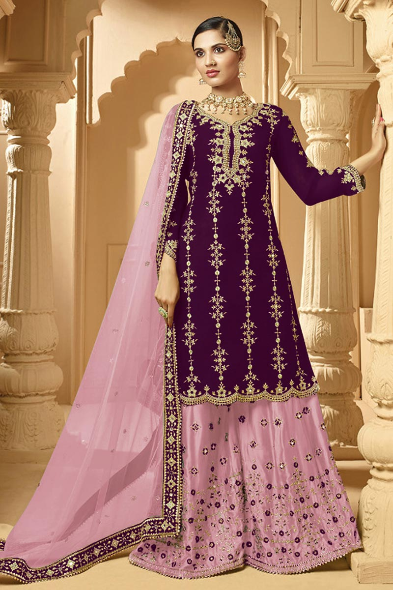 Purple Color Sangeet Wear Classic Embroidered Palazzo Suit In Georgette Fabric