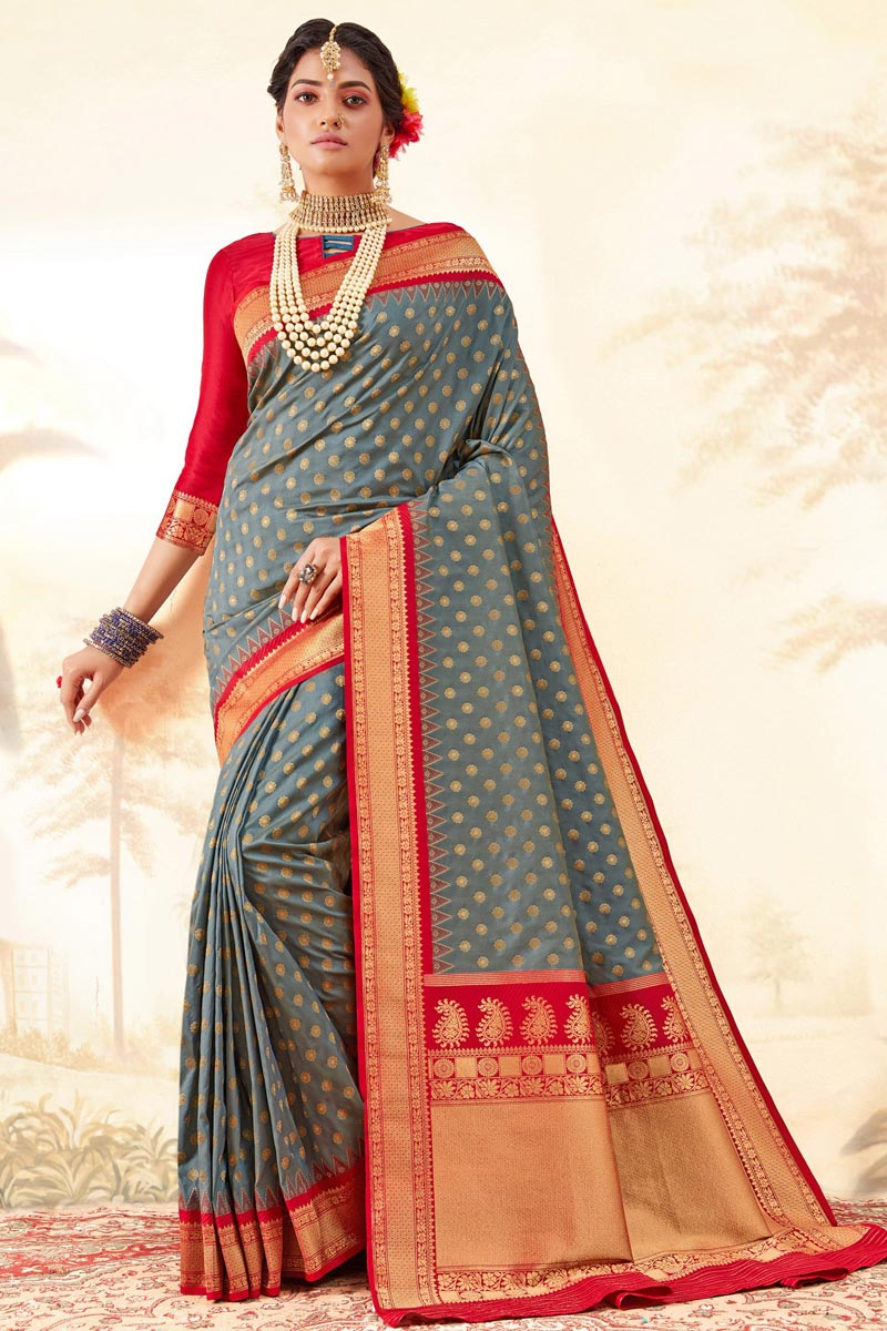 Function Wear Trendy Grey Color Weaving Work Saree In Handloom Art Silk Fabric