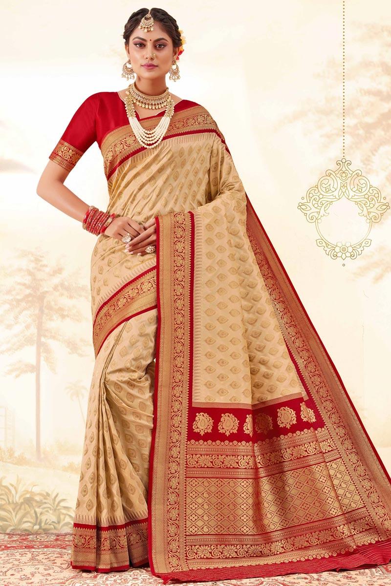 Function Wear Beige Color Trendy Handloom Art Silk Fabric Weaving Work Saree