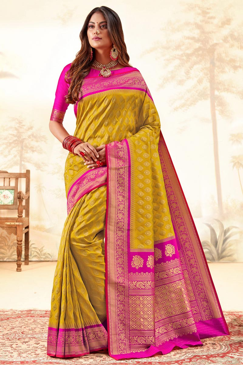 Function Wear Trendy Yellow Color Weaving Work Handloom Art Silk Fabric Saree