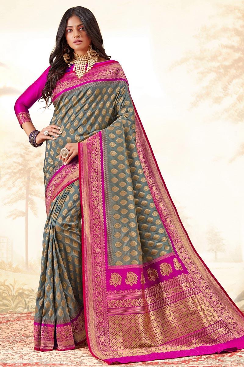 Grey Color Trendy Function Wear Handloom Art Silk Fabric Weaving Work Saree