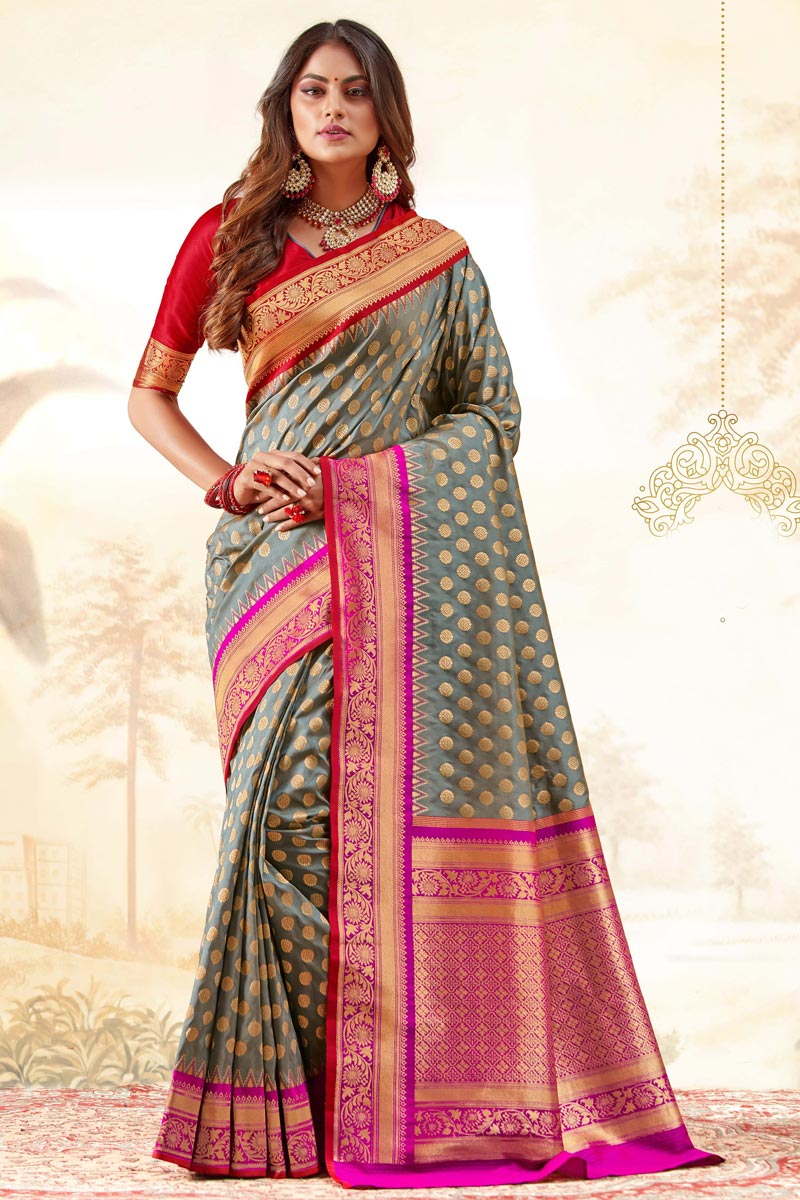 Handloom Art Silk Fabric Function Wear Grey Color Trendy Weaving Work Saree