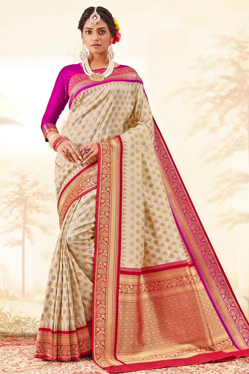 Function Wear Trendy Handloom Art Silk Fabric Weaving Work Saree In Beige Color