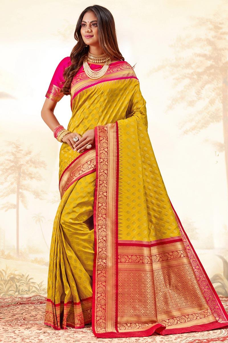 Function Wear Handloom Art Silk Fabric Trendy Weaving Work Saree In Yellow Color