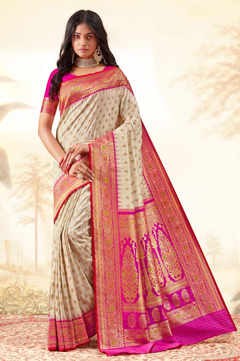 Handloom Art Silk Fabric Fancy Function Wear Beige Color Weaving Work Saree