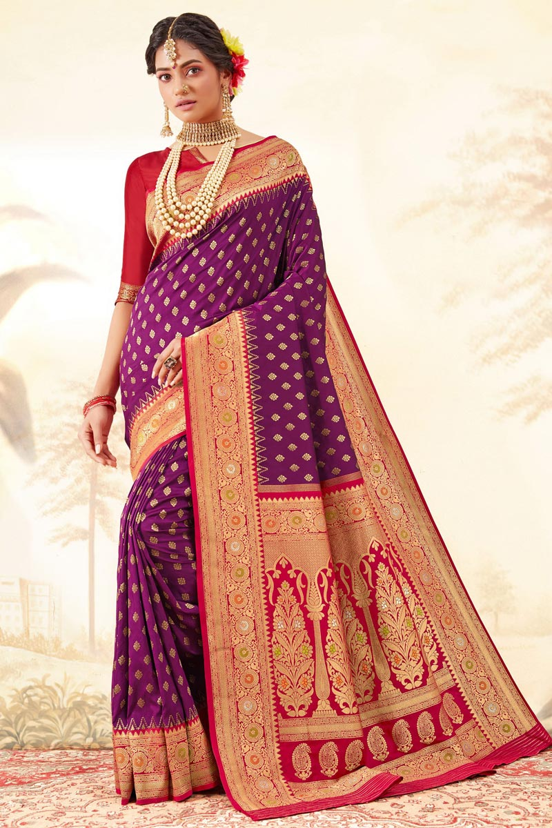 Purple Color Function Wear Handloom Art Silk Fabric Fancy Weaving Work Saree