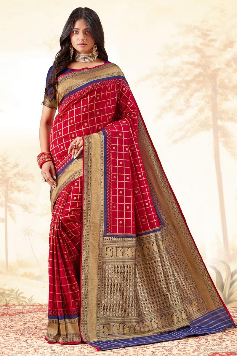 Red Color Fancy Function Wear Handloom Art Silk Fabric Weaving Work Saree