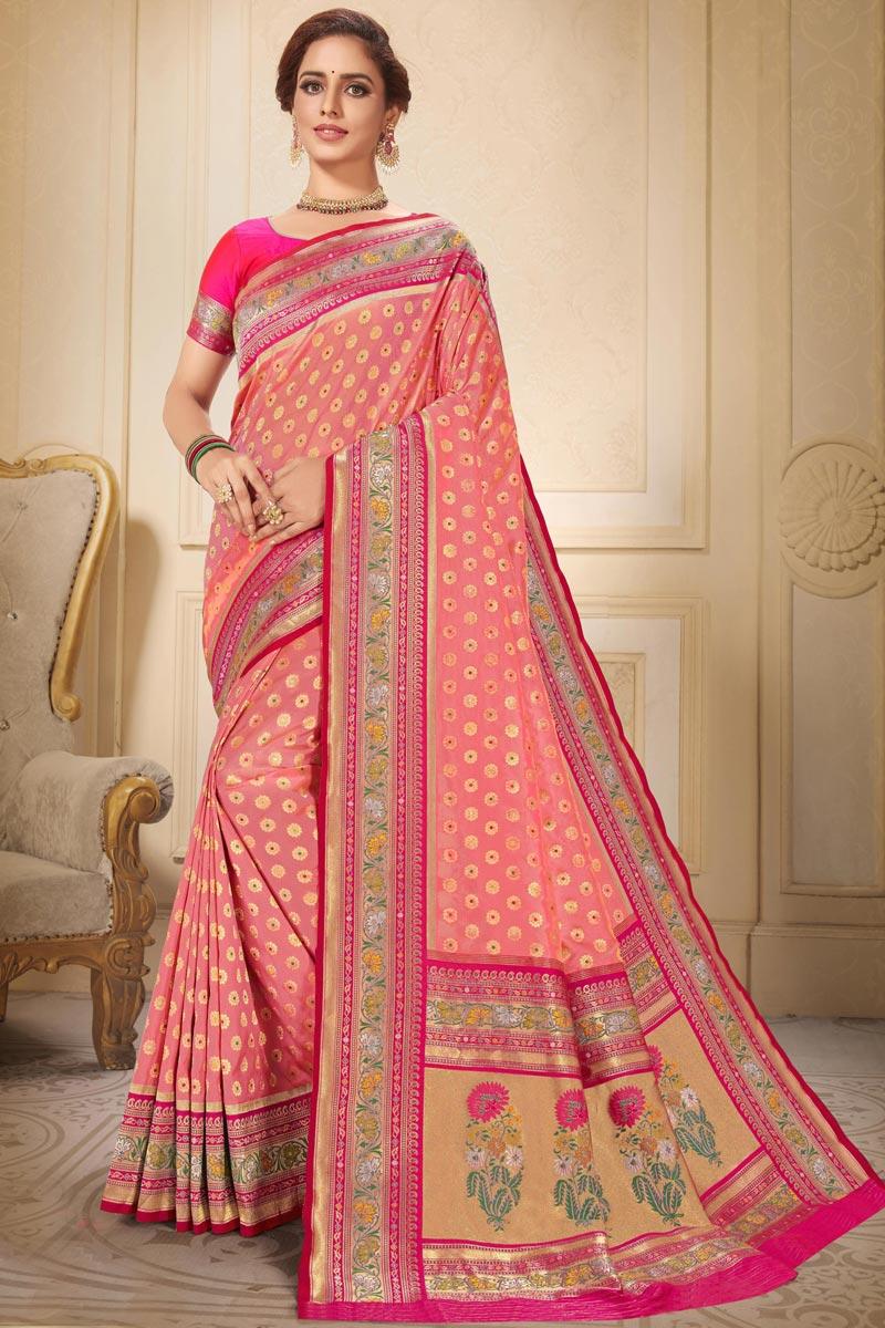 Brocade Fabric Trendy Sangeet Wear Peach Color Weaving Work Saree