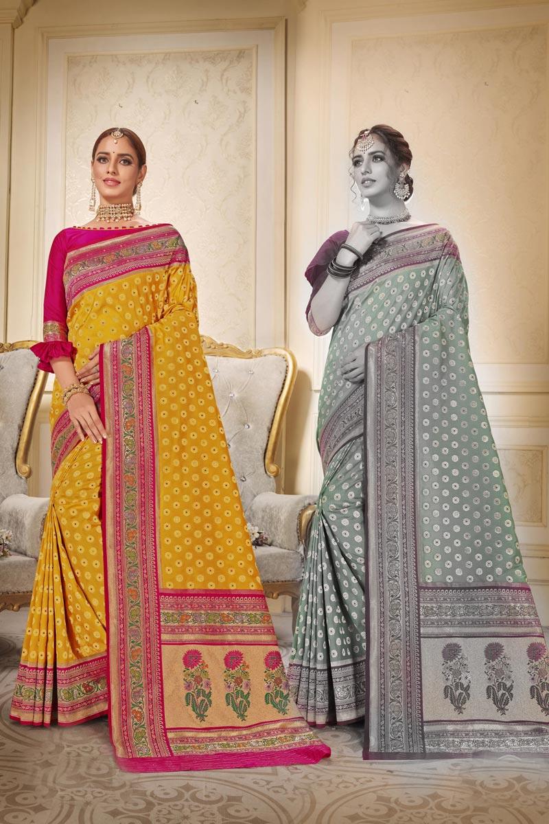 Yellow Color Sangeet Wear Brocade Fabric Trendy Weaving Work Saree