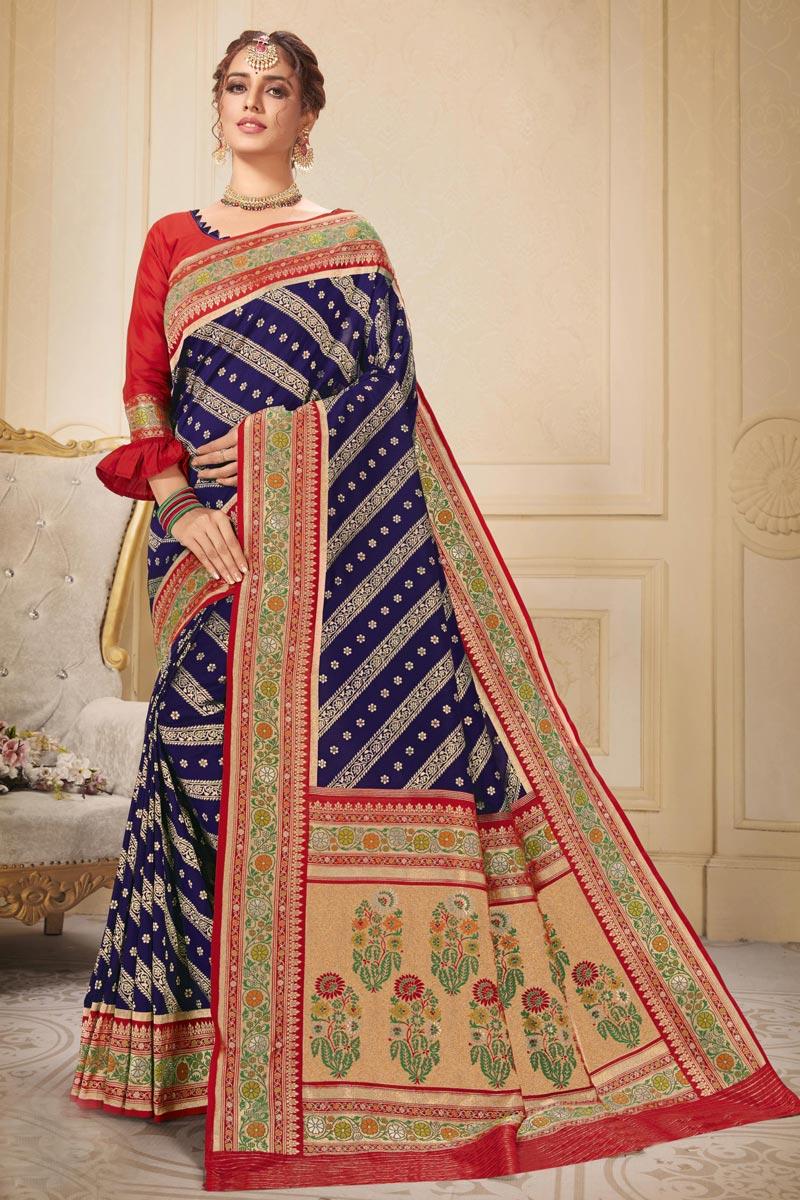 Sangeet Wear Blue Color Trendy Brocade Fabric Weaving Work Saree