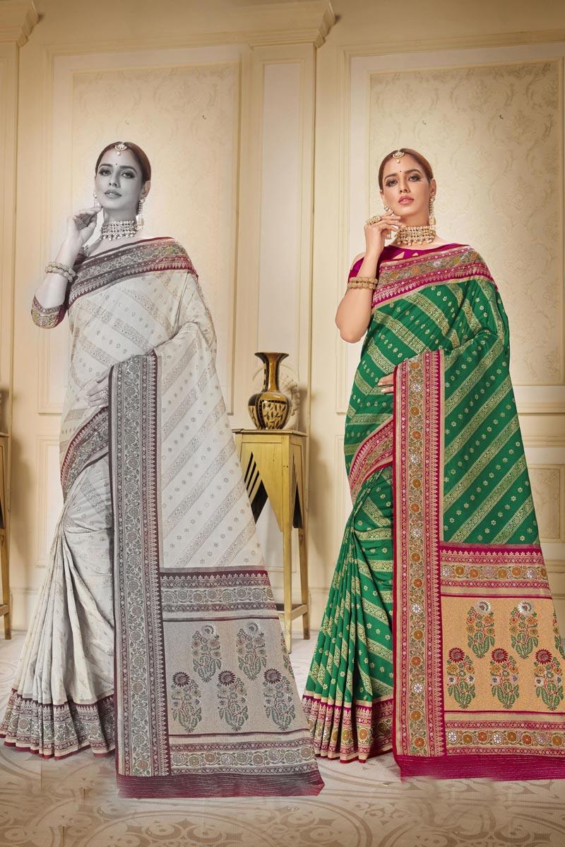 Sangeet Wear Trendy Green Color Weaving Work Brocade Fabric Saree