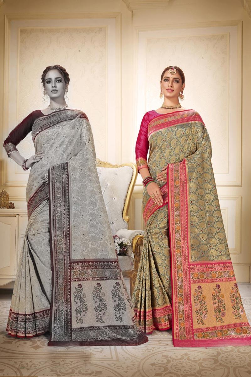 Sangeet Wear Fancy Brocade Fabric Weaving Work Grey Color Saree