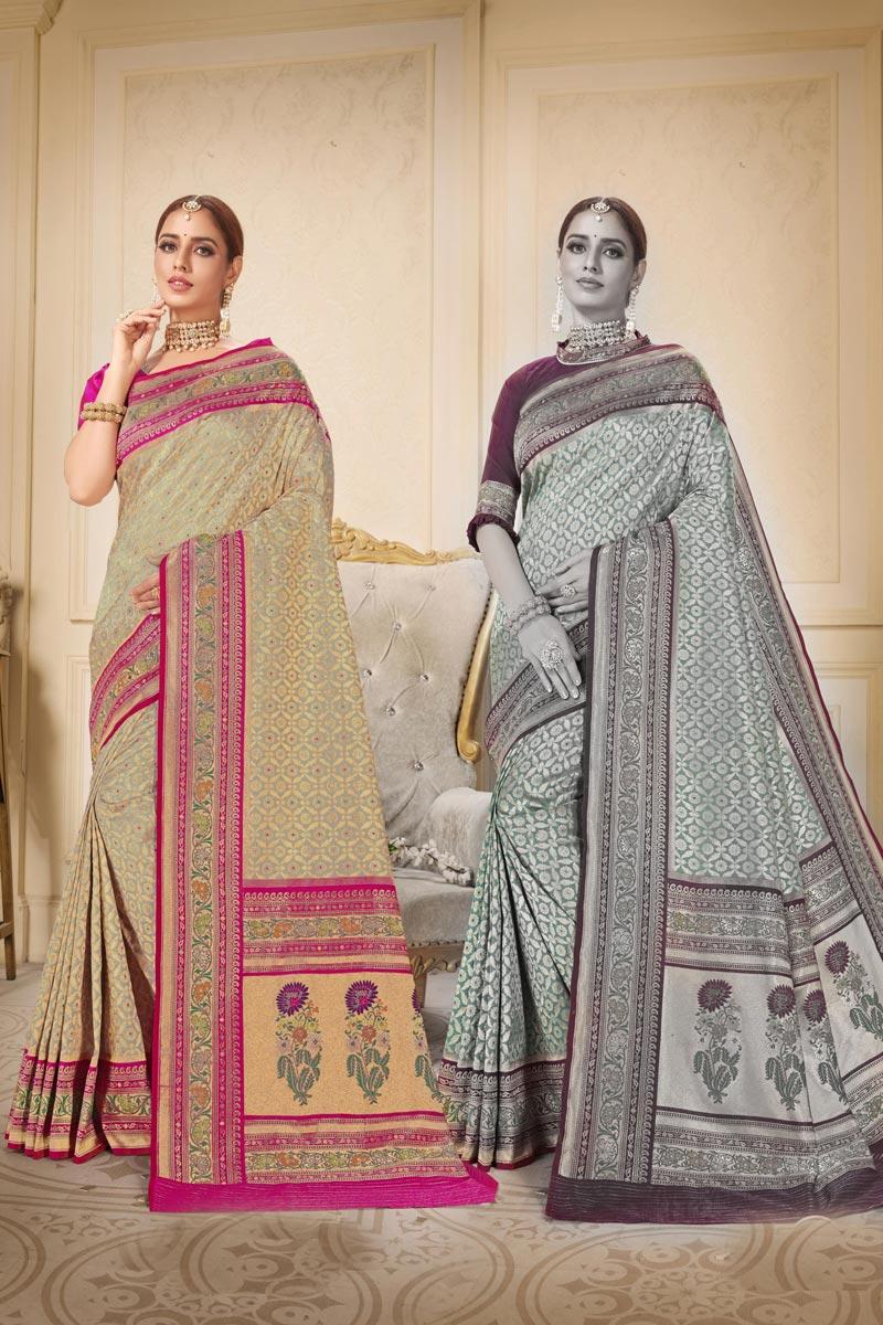 Beige Color Sangeet Wear Brocade Fabric Fancy Weaving Work Saree
