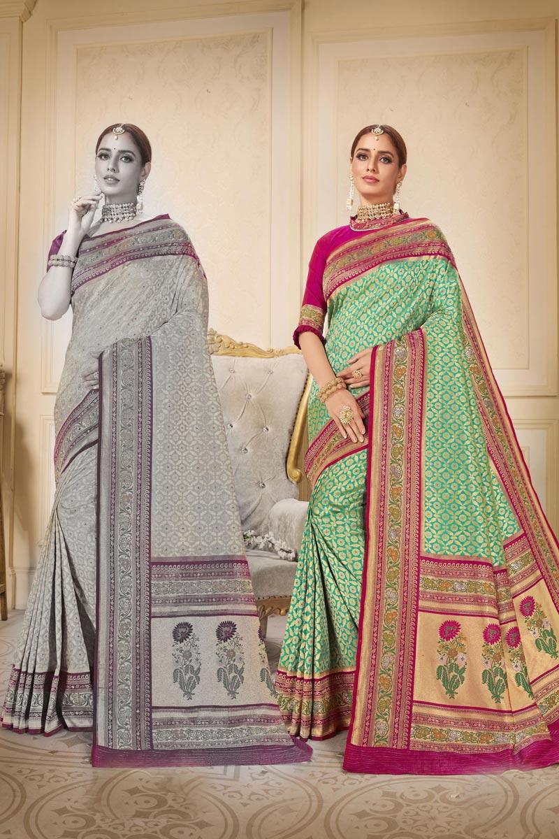 Sangeet Wear Fancy Sea Green Color Weaving Work Saree In Brocade Fabric