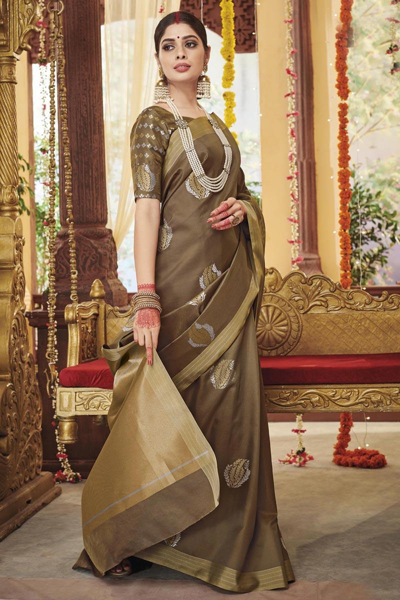 Designer Light Brown Color Art Silk Fabric Party Wear Saree