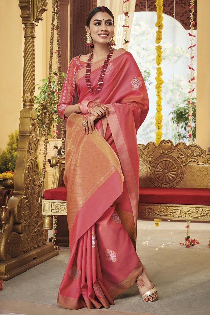 Pink Color Traditional Saree In Art Silk Fabric