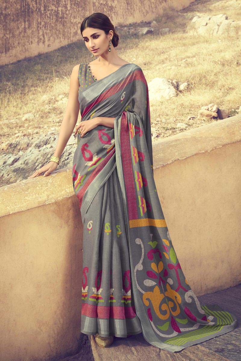 Grey Color Linen Fabric Fancy Printed Daily Wear Saree