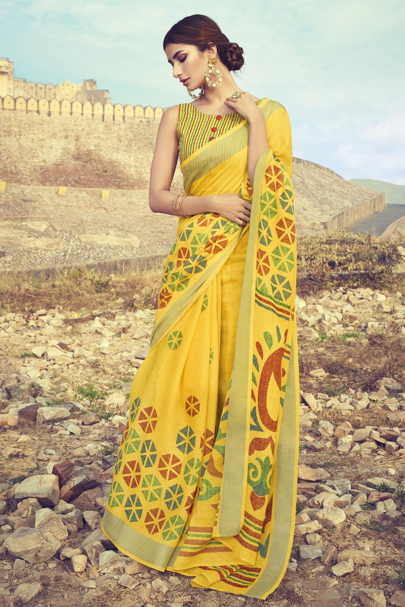 Linen Fabric Daily Wear Printed Saree In Yellow Color