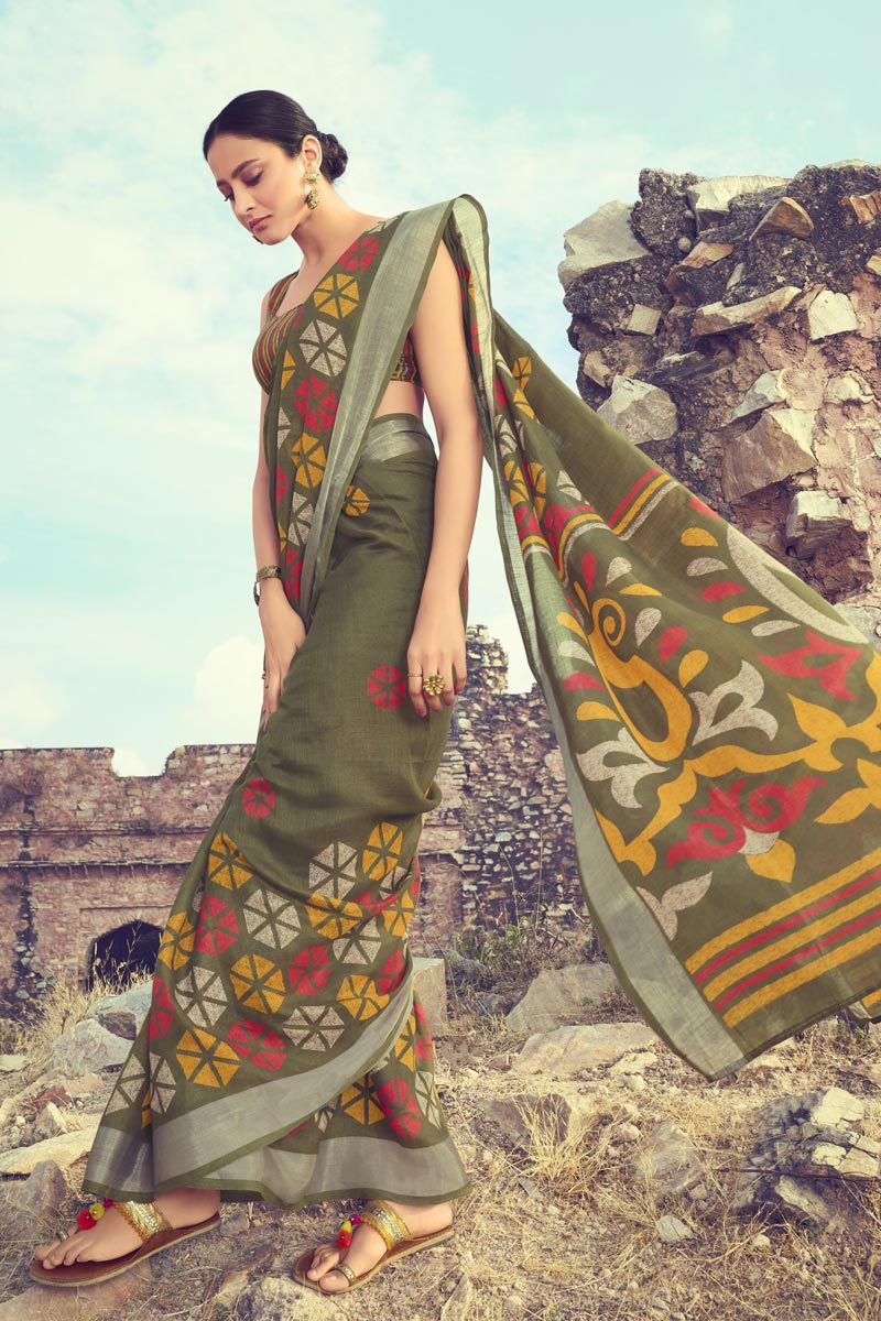 Printed Linen Fabric Fancy Saree In Mehendi Green Color