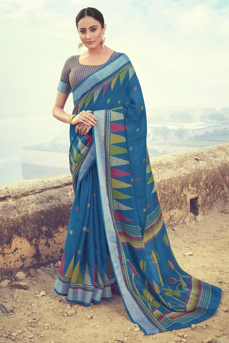 Sky Blue Color Casual Wear Printed Saree In Linen Fabric